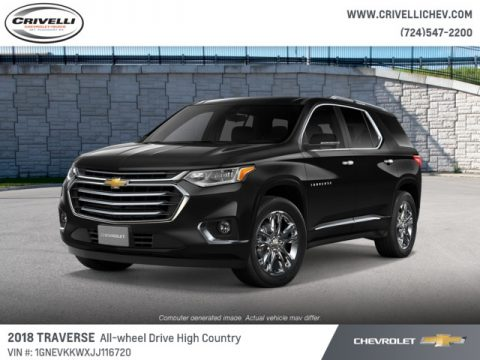 Mosaic Black Metallic Chevrolet Traverse High Country AWD.  Click to enlarge.
