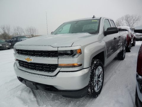 Silver Ice Metallic Chevrolet Silverado 1500 WT Double Cab 4x4.  Click to enlarge.