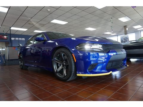 IndiGo Blue Dodge Charger SRT Hellcat.  Click to enlarge.