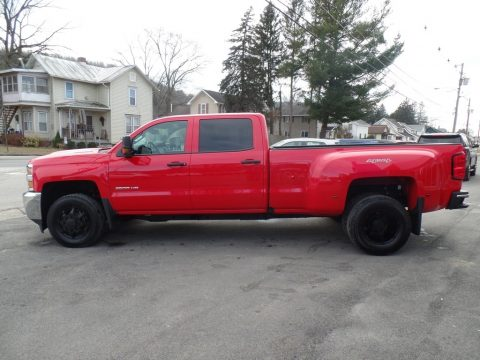 Red Hot Chevrolet Silverado 3500HD Work Truck Crew Cab Dual Rear Wheel 4x4.  Click to enlarge.