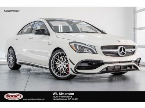 Cirrus White Mercedes-Benz CLA AMG 45 Coupe.  Click to enlarge.