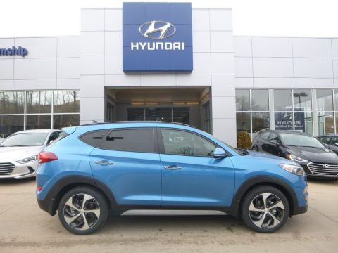 Caribbean Blue Hyundai Tucson Limited AWD.  Click to enlarge.