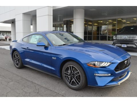 Lightning Blue Ford Mustang GT Premium Fastback.  Click to enlarge.