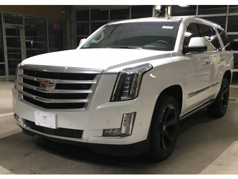 Crystal White Tricoat Cadillac Escalade Premium Luxury 4WD.  Click to enlarge.