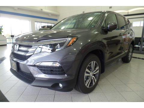 Modern Steel Metallic Honda Pilot EX-L AWD.  Click to enlarge.