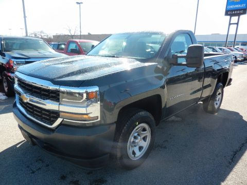Graphite Metallic Chevrolet Silverado 1500 WT Regular Cab 4x4.  Click to enlarge.
