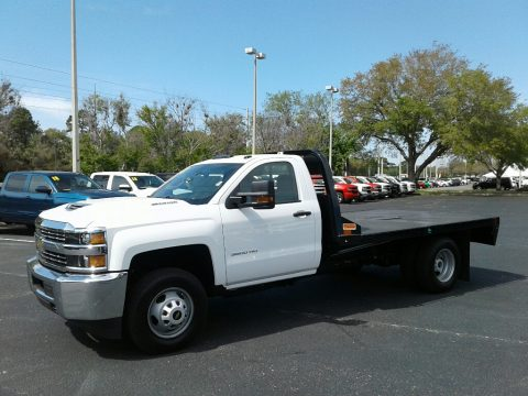 Summit White Chevrolet Silverado 3500HD Work Truck Regular Cab 4x4 Stake Truck.  Click to enlarge.