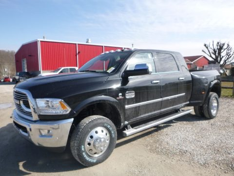 Brilliant Black Crystal Pearl Ram 3500 Laramie Longhorn Mega Cab 4x4 Dual Rear Wheel.  Click to enlarge.