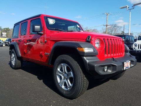 Firecracker Red Jeep Wrangler Unlimited Sport 4x4.  Click to enlarge.