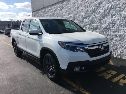 White Diamond Pearl Honda Ridgeline Sport AWD.  Click to enlarge.