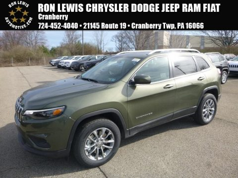 Olive Green Pearl Jeep Cherokee Latitude Plus 4x4.  Click to enlarge.