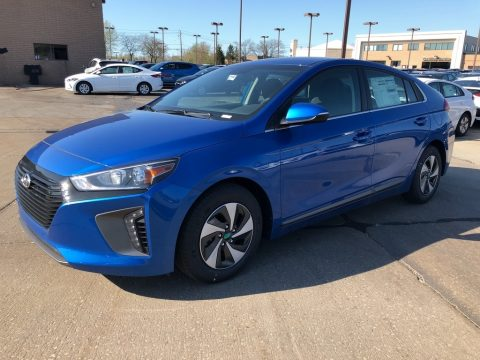 Electric Blue Metallic Hyundai Ioniq Hybrid SEL.  Click to enlarge.