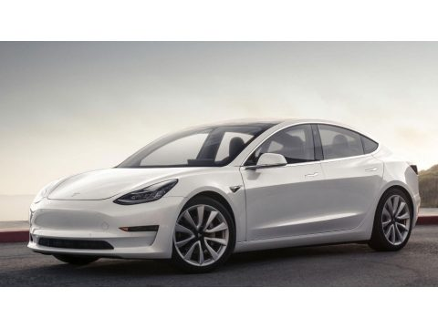 Pearl White Multi-Coat Tesla Model 3 Long Range.  Click to enlarge.