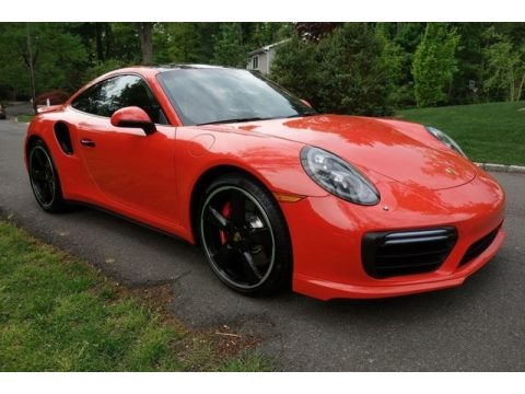Lava Orange Porsche 911 Turbo Coupe.  Click to enlarge.