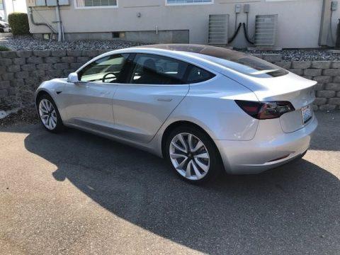 Silver Metallic Tesla Model 3 Long Range.  Click to enlarge.