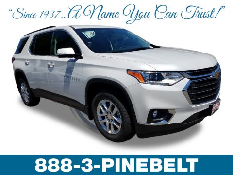 Pearl White Chevrolet Traverse LT AWD.  Click to enlarge.