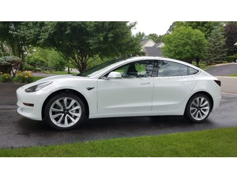 Pearl White Multi-Coat Tesla Model 3 Long Range.  Click to enlarge.