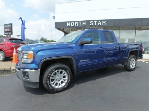 Stone Blue Metallic GMC Sierra 1500 SLE Double Cab 4x4.  Click to enlarge.