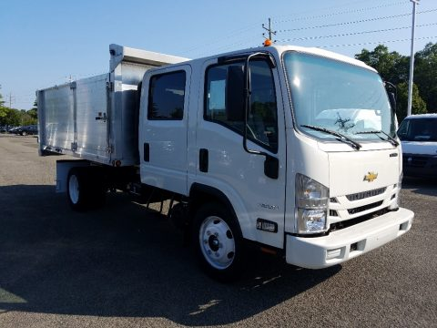 Summit White Chevrolet Low Cab Forward 4500 Crew Cab Stake Truck.  Click to enlarge.
