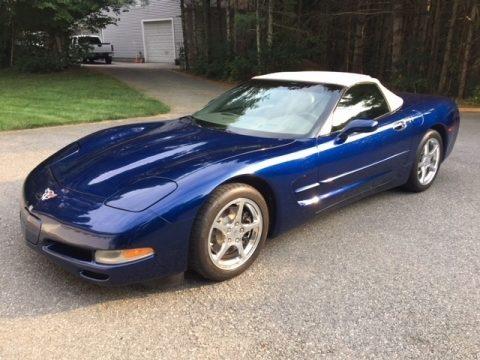 LeMans Blue Metallic Chevrolet Corvette Convertible.  Click to enlarge.