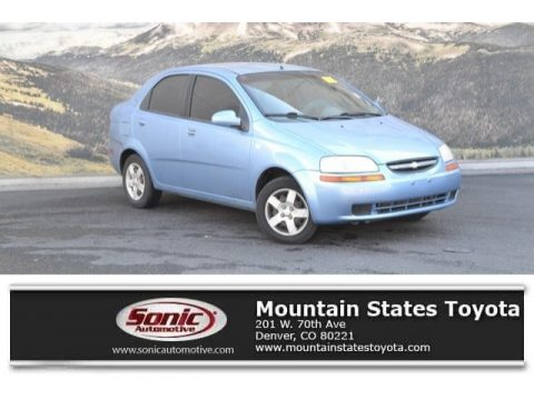 Pastel Blue Metallic Chevrolet Aveo LS Sedan.  Click to enlarge.