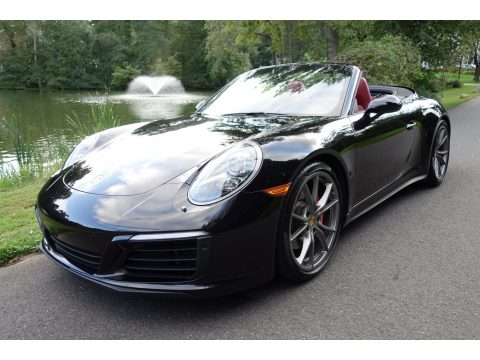 Jet Black Metallic Porsche 911 Carrera 4S Cabriolet.  Click to enlarge.