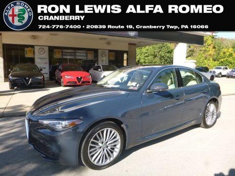 Lipari Gray Metallic Alfa Romeo Giulia Ti Lusso AWD.  Click to enlarge.