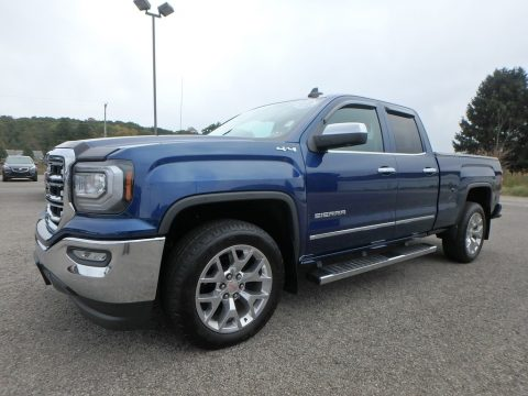 Stone Blue Metallic GMC Sierra 1500 SLT Double Cab 4WD.  Click to enlarge.