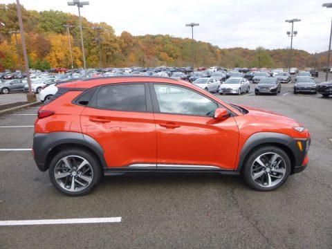 Sunset Orange Hyundai Kona Ultimate AWD.  Click to enlarge.