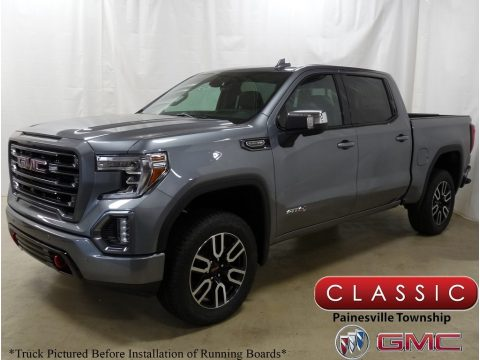 Satin Steel Metallic GMC Sierra 1500 AT4 Crew Cab 4WD.  Click to enlarge.