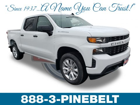 Summit White Chevrolet Silverado 1500 Custom Crew Cab 4WD.  Click to enlarge.