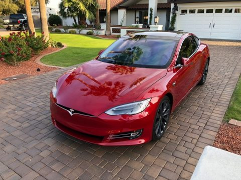 Red Multi-Coat Tesla Model S P100D.  Click to enlarge.
