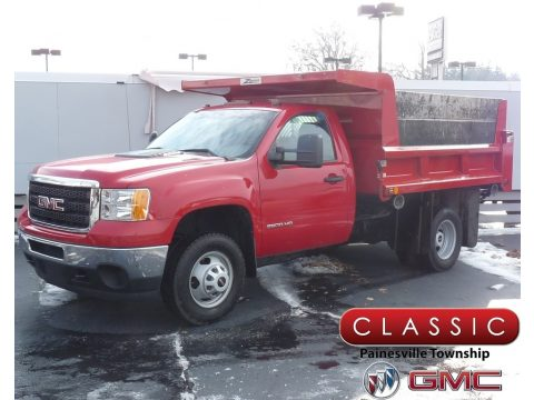 Fire Red GMC Sierra 3500HD Work Truck Regular Cab Chassis Dump Truck.  Click to enlarge.