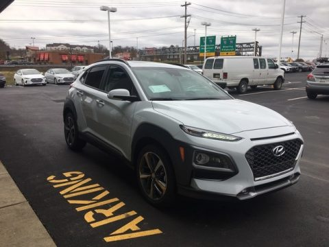 Chalk White Hyundai Kona Limited AWD.  Click to enlarge.