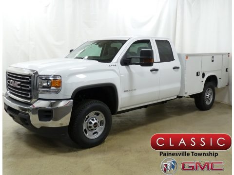 Summit White GMC Sierra 2500HD Double Cab 4WD Utility.  Click to enlarge.