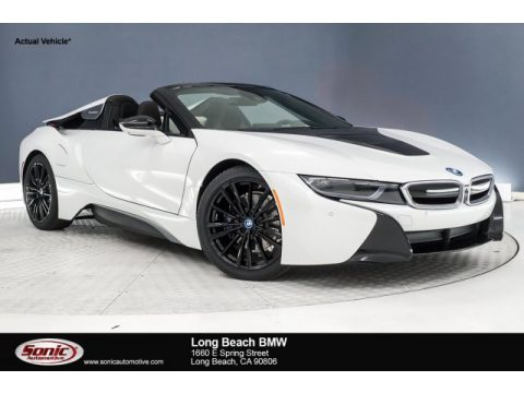 Crystal White Pearl Metallic BMW I8 Roadster.  Click to enlarge.