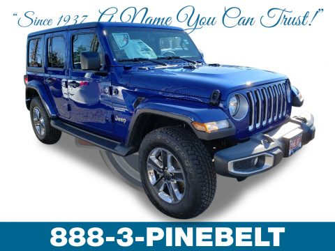 Ocean Blue Metallic Jeep Wrangler Unlimited Sahara 4x4.  Click to enlarge.