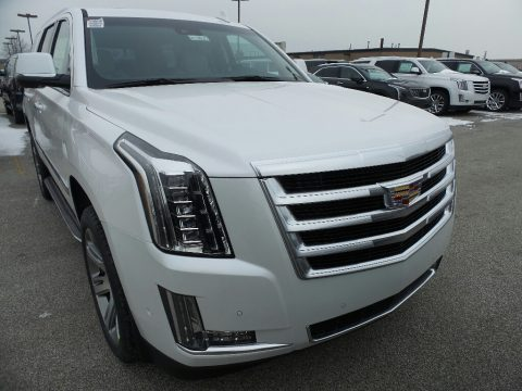 Crystal White Tricoat Cadillac Escalade Luxury 4WD.  Click to enlarge.