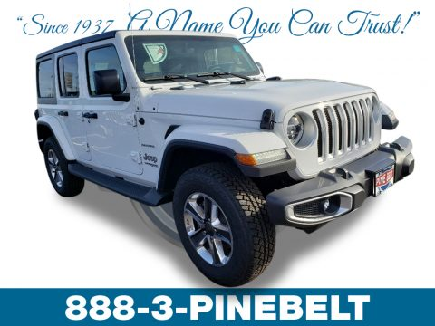 Bright White Jeep Wrangler Unlimited Sahara 4x4.  Click to enlarge.