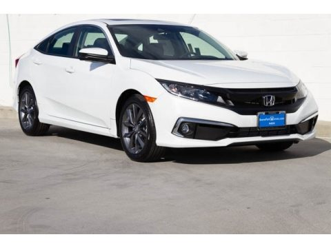 Platinum White Pearl Honda Civic EX Sedan.  Click to enlarge.