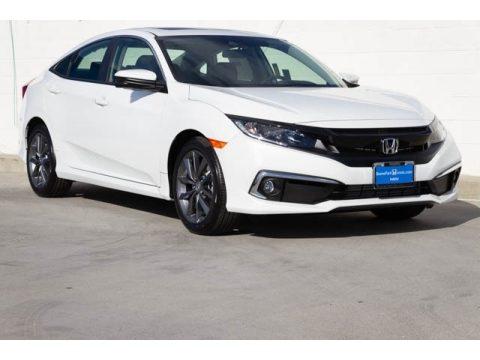Platinum White Pearl Honda Civic EX Sedan.  Click to enlarge.