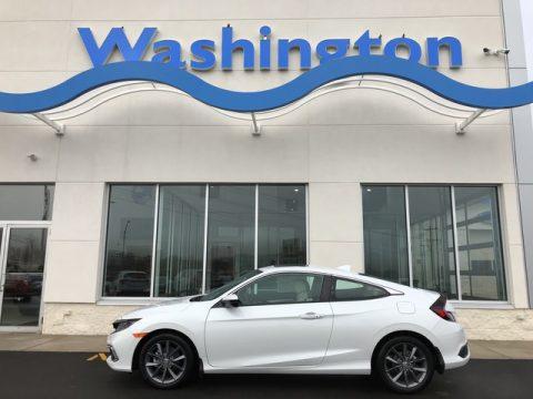 Platinum White Pearl Honda Civic EX Coupe.  Click to enlarge.