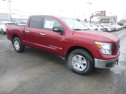 Cayenne Red Metallic Nissan Titan SV Crew Cab 4x4.  Click to enlarge.