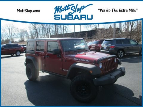 Deep Cherry Red Crystal Pearl Jeep Wrangler Unlimited Rubicon 4x4.  Click to enlarge.