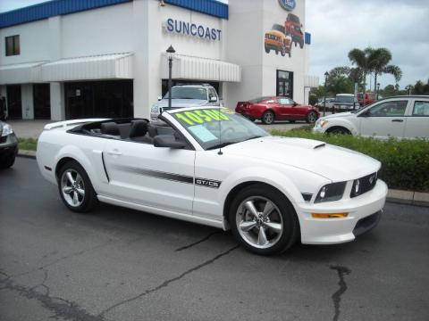 Performance White Ford Mustang GT/CS California Special Convertible.  Click to enlarge.