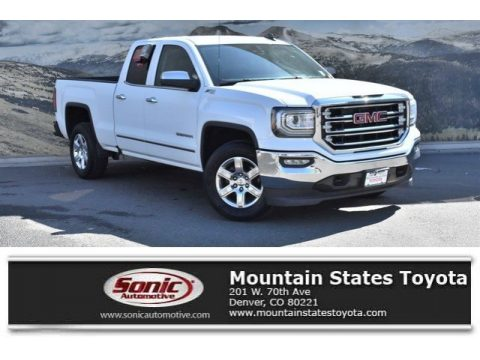 Summit White GMC Sierra 1500 SLT Double Cab 4WD.  Click to enlarge.
