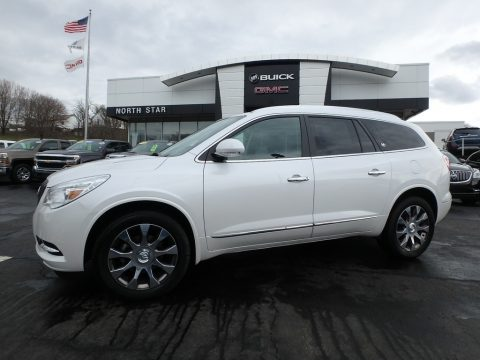 White Frost Tricoat Buick Enclave Leather AWD.  Click to enlarge.