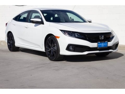 Platinum White Pearl Honda Civic Sport Sedan.  Click to enlarge.