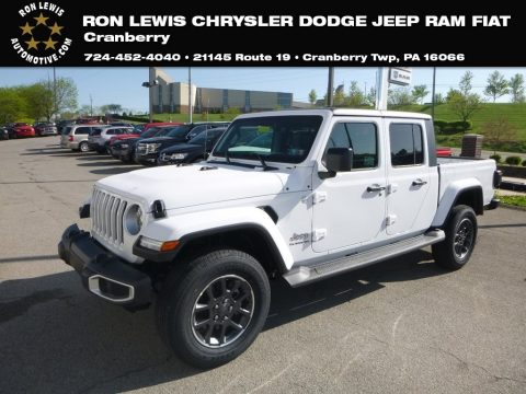 Bright White Jeep Gladiator Overland 4x4.  Click to enlarge.