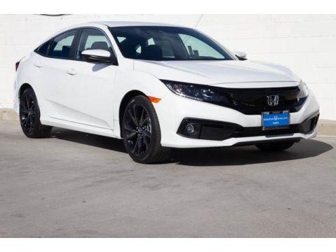 Platinum White Pearl Honda Civic Sport Sedan.  Click to enlarge.